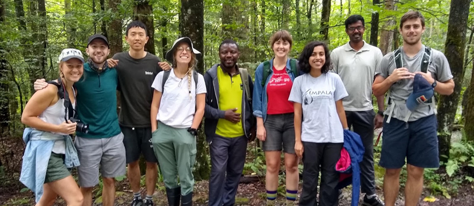 All smiles on a morning hike in the Smokies, during the graduate student retreat in August 2019.