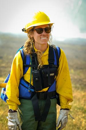 Alix assists on a prescribed burn in Cades Cove. Photo credit: Matt Jernigan